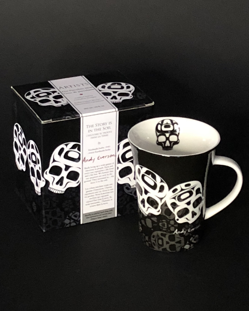 Porcelain Skull Mug Porcelain mug featuring Skull design by Andy Everyone (Kwakwaka'wakw).