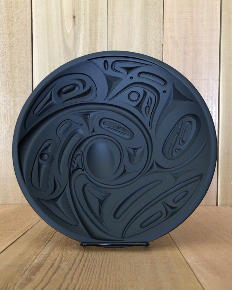 Eagle & Orca Plate cast in recycled glass with art by Corrine Hunt (Kwakwaka-wakw).