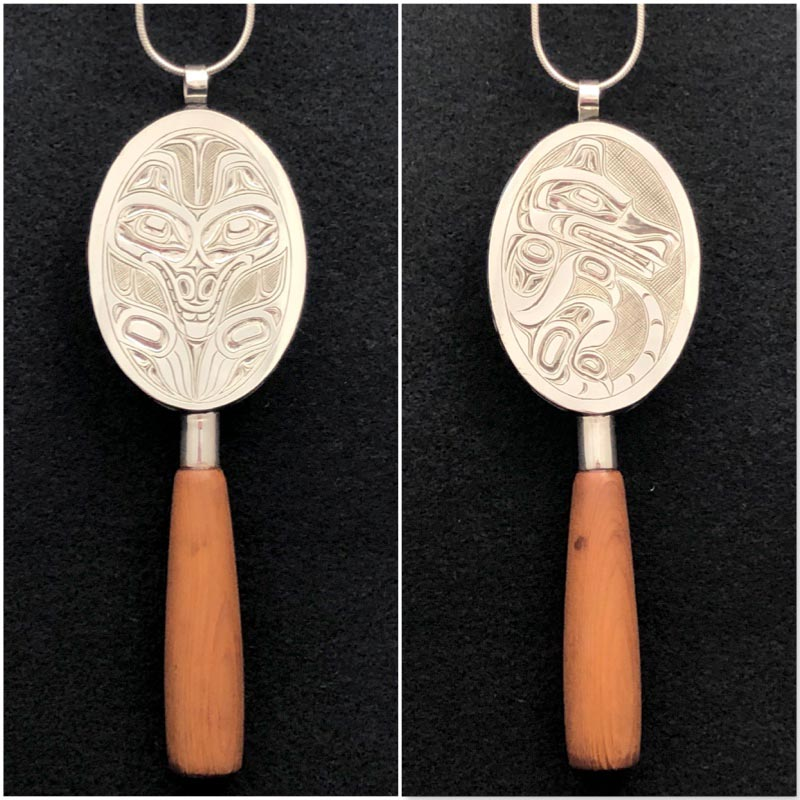 Double Sided Wolf Rattle Pendant<br />Chris Cook