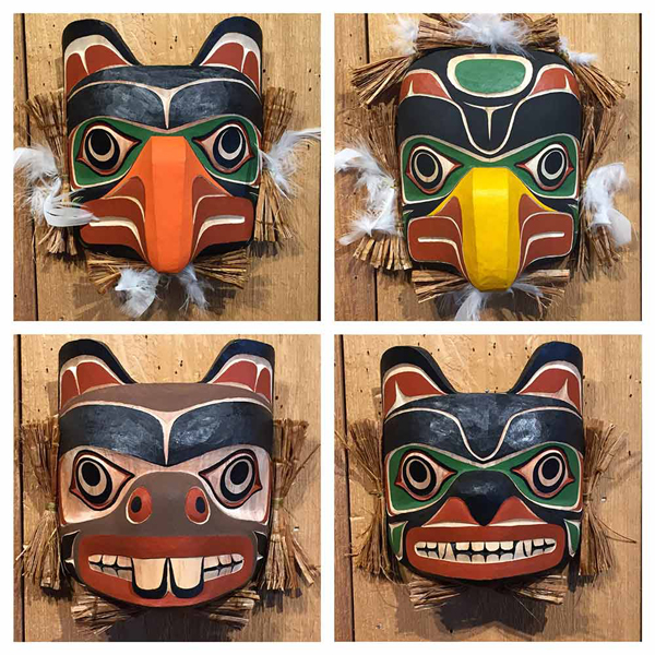 Eagle, Bear, Beaver & Thunderbird Maskettes<br />Sammy Dawson