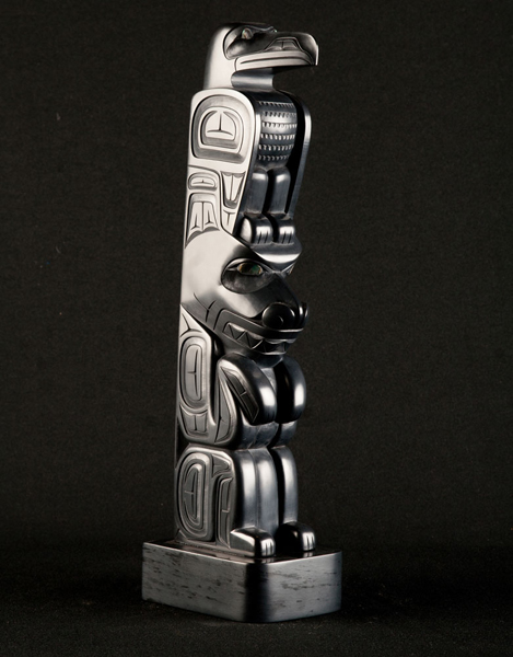 Raven & Bear Argillite Totem<br />Dennis Pollard<br /><span class='sold'>SOLD</span>