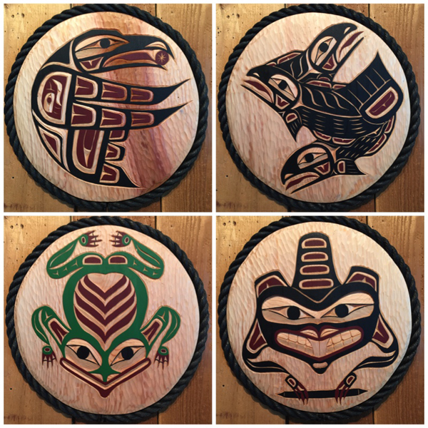 Raven, Salmon, Frog and Beaver Panels<br />Brad Starr
