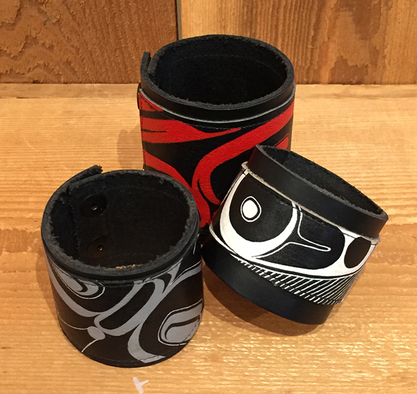 Native Design Leather Cuffs<br />Morgan Asoyuf
