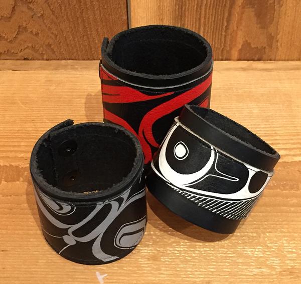 Native Design Leather Cuffs<br />Morgan Green