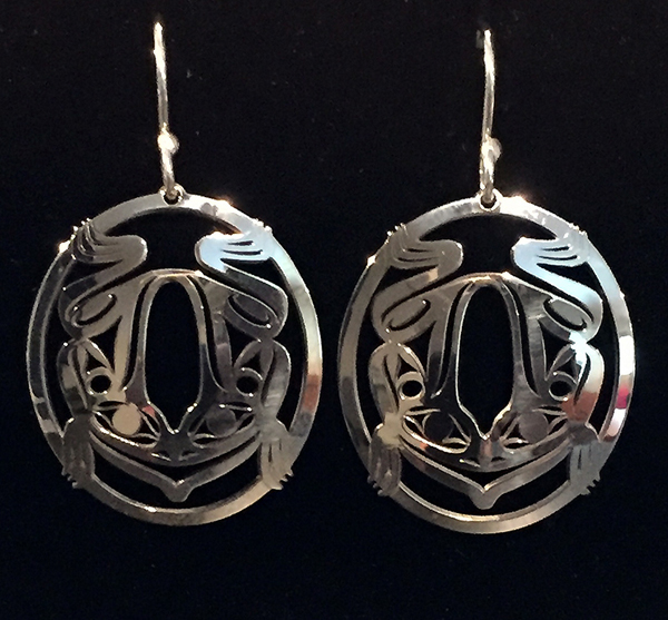 Silver Frog Earrings<br />Grant Pauls