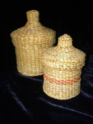 Cedar Bark Woven Rattle Baskets by David Oldfield