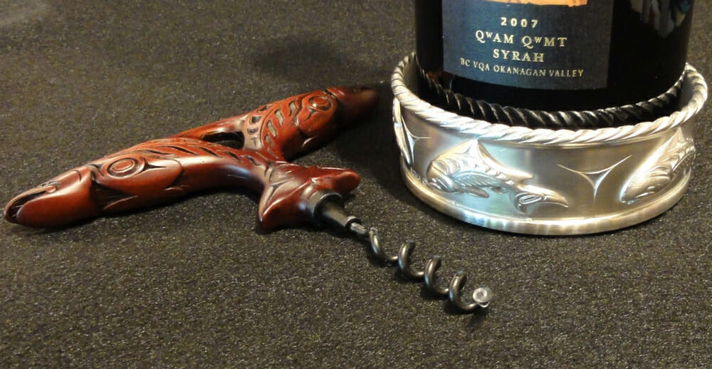 Salmon Wine Rest & Corkscrew