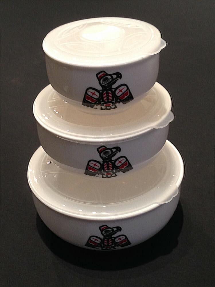 Nesting Lidded Thunderbird Bowls
