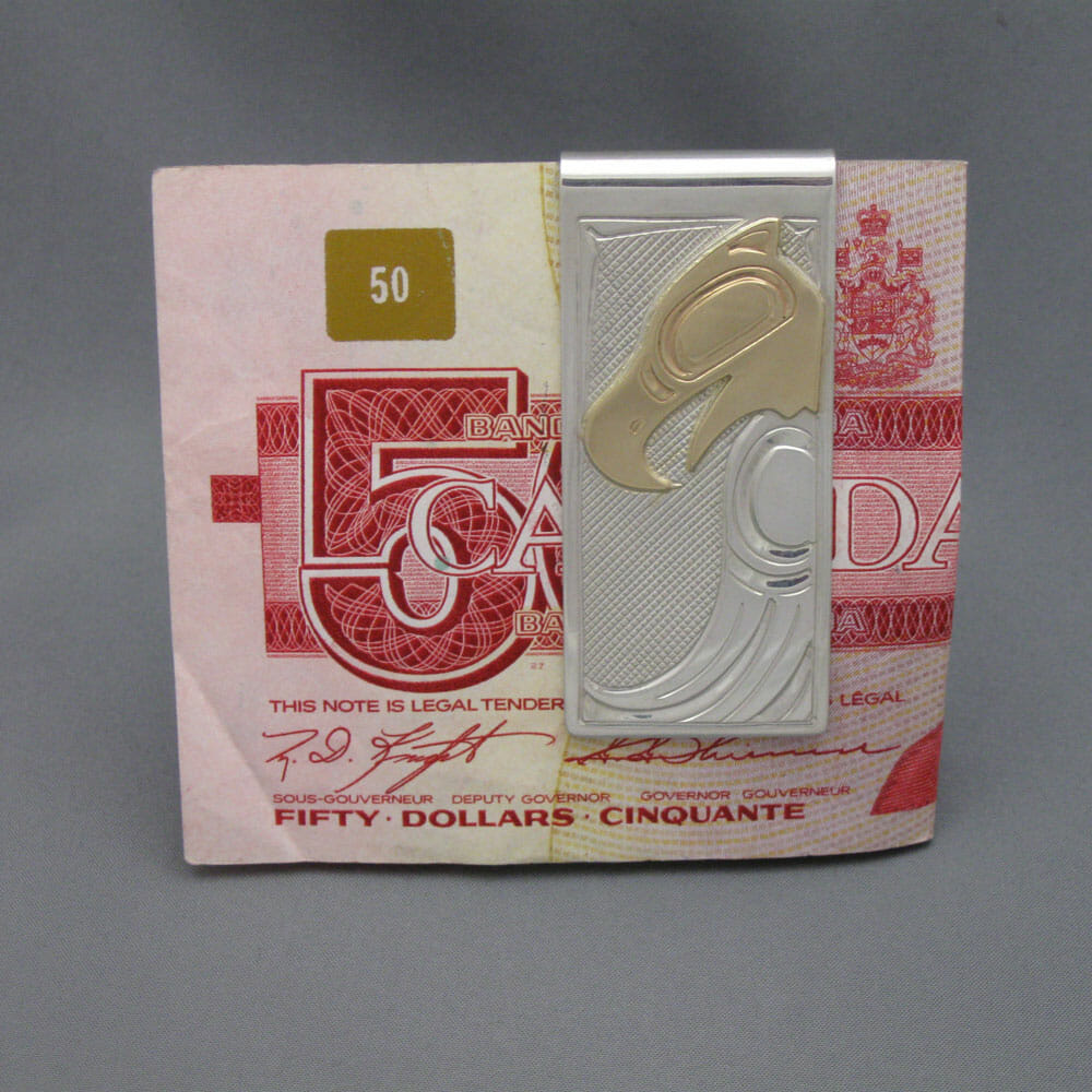 Moneyclip Silver with Gold