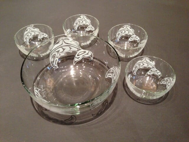 Glass Salad Bowl Set Salmon design