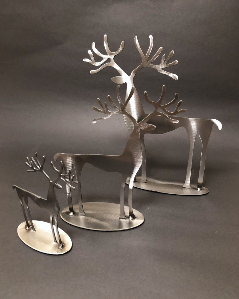 Metal Reindeer Reindeer cut in steel by Anvil Design on Vancouver Island.