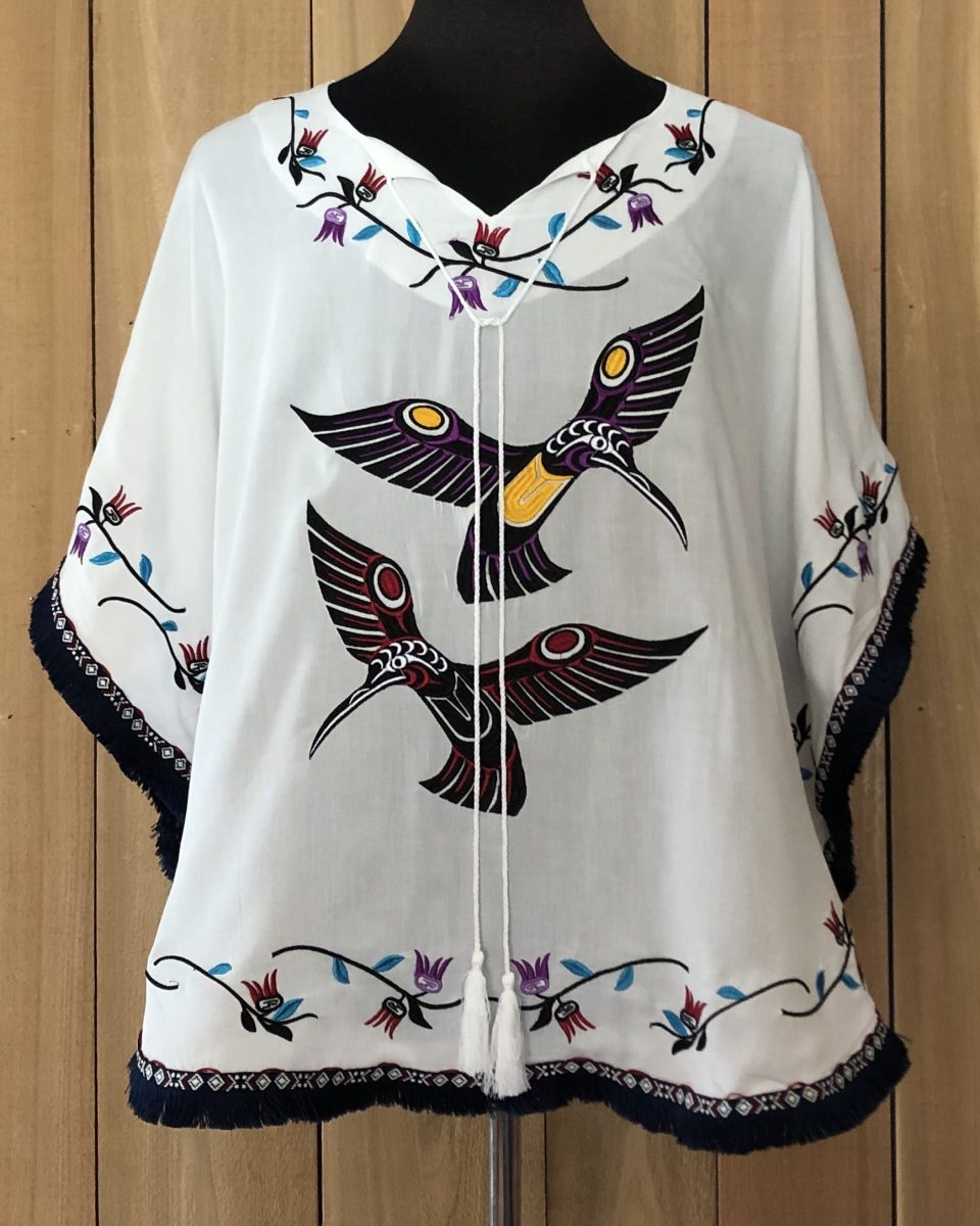 Hummingbird Poncho Shawl Rayon poncho shawl featuring Hummingbird design by Francis Horne, Jr. (Coast Salish).