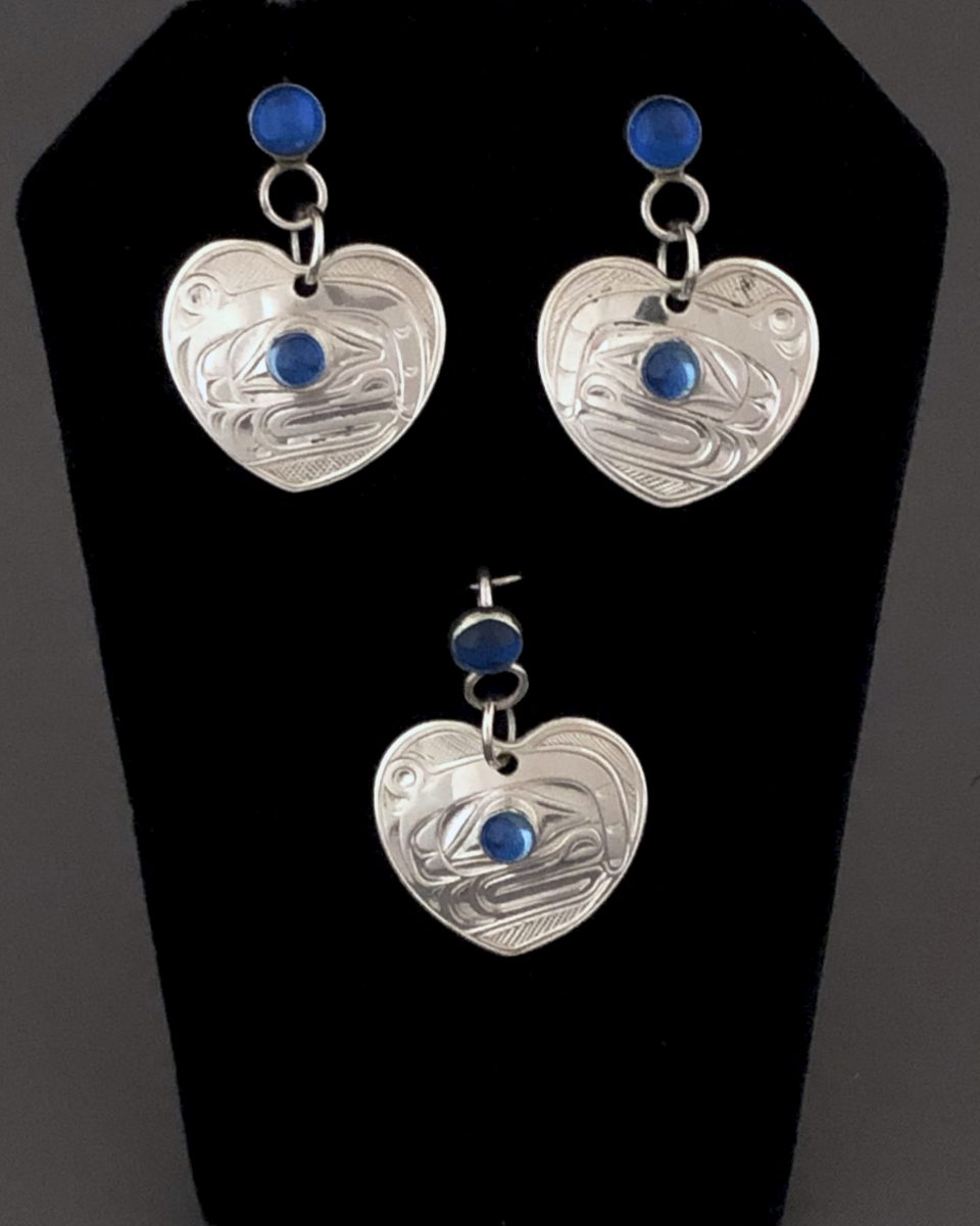 Heart Shaped Whale Earring & Pendant Set with Aquamarine<br />Chris Cook